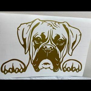 New Boxer Dog Peeking Gold Vinyl Decal Sticker